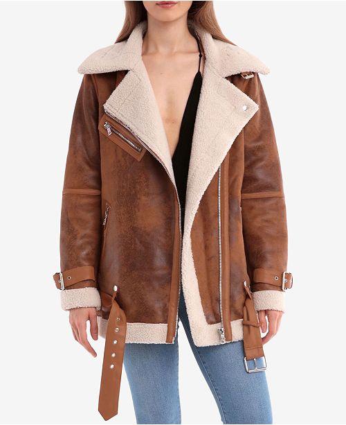 dc9547c90c2 Avec Les Filles Faux-Shearling Moto Coat   Reviews - Coats - Women ...
