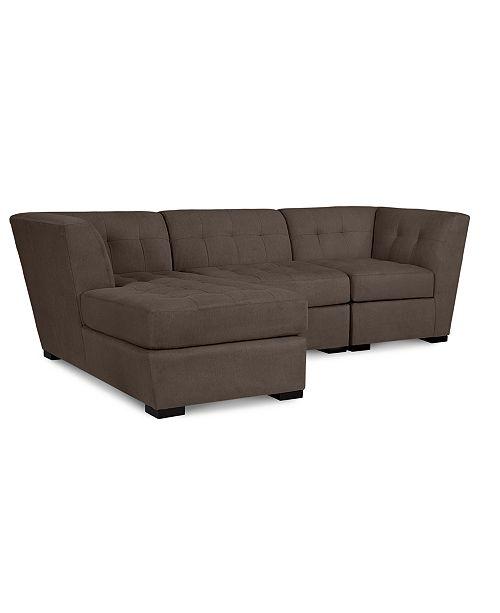 Furniture Roxanne II Performance Fabric 3-Pc. Modular Sofa with Chaise - Custom Colors, Created for Macy's