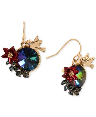 Betsey Johnson Gold-Tone Multi-Stone Bird & Flower Drop Earrings