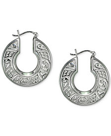 Giani Bernini Cubic Zirconia Engraved Hoop Earrings in Sterling Silver, Created for Macy's