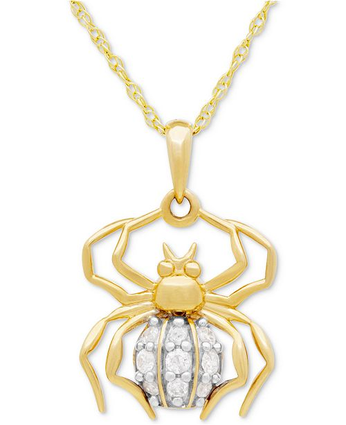 Macy's Diamond Spider Pedant Necklace (1/10 ct. t.w.) in 10k Gold