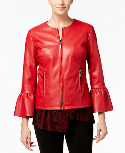 Alfani Petite Faux-Leather Ruffle-Sleeve Coat, Created for Macy's