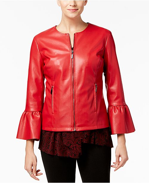 Petite Faux-Leather Ruffle-Sleeve Coat, Created for Macy's