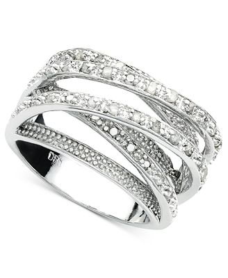 victoria townsend diamond multi row ring in sterling. Black Bedroom Furniture Sets. Home Design Ideas