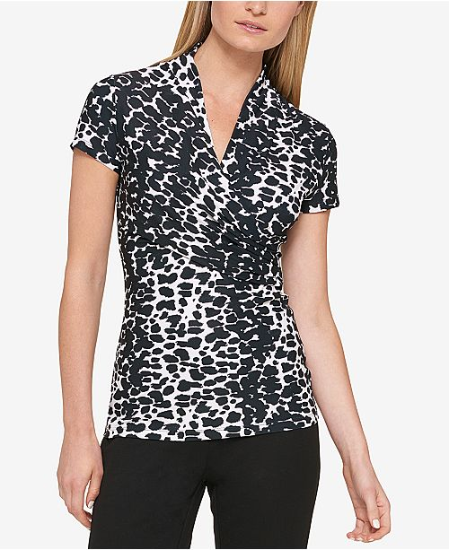 DKNY Animal Print Ruched Top