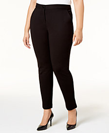 Alfani Plus Size Tummy-Control Ponté-Knit Pants, Created for Macy's