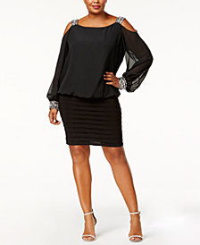 Betsy & Adam Plus Size Cold-Shoulder Embellished Blouson Dress