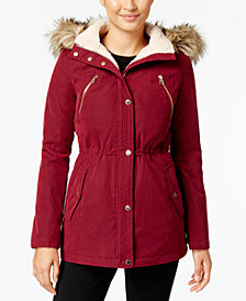 Nautica Anorak Coat with Faux-Fur-Trim Hood