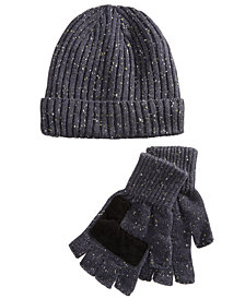 Ryan Seacrest Distinction™ Men's Donegal Beanie & Gloves Set