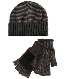 Ryan Seacrest Distinction™ Men's Striped Beanie & Gloves Set