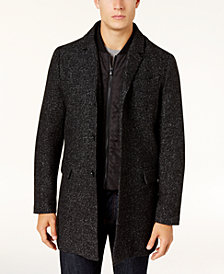 Michael Kors Men's Slim-Fit Overcoat with Quilted Inset