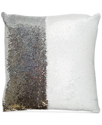 "Mermaid Colorblocked White & Silver Sequin 18"" Square Decorative Pillow"