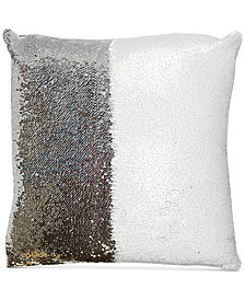 "Hallmart Collectibles Mermaid Colorblocked White & Silver Sequin 18"" Square Decorative Pillow"