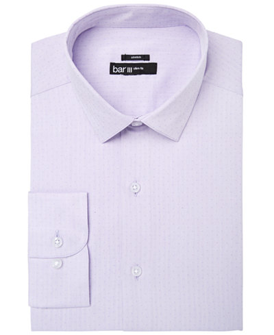 Bar III Men's Slim-Fit Stretch Easy-Care Lavender Herringbone Dot Dobby Dress Shirt, Created for Macy's