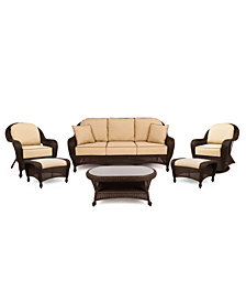 Monterey Outdoor Wicker 6-Pc. Seating Set with Sunbrella® Cushions  (1 Sofa, 1 Club Chair, 1 Swivel Glider, 2 Ottomans and 1 Coffee Table), Created for Macy's