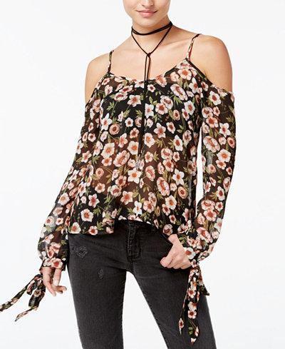 American Rag Juniors' Floral-Print Semi-Sheer Top, Created for Macy's