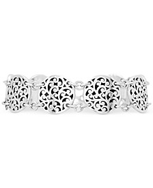 Filigree Round Link Bracelet in Sterling Silver