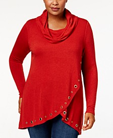 Plus Size Cowl-Neck Grommet-Trim Top