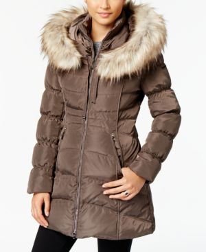 LAUNDRY BY SHELLI SEGAL Laundry By Shelli Segal Faux-Fur-Trim Hooded Puffer Coat in Taupe