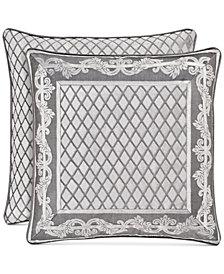 "J Queen New York Bel Air Tufted-Chenille Silver 20"" Square Decorative Pillow"