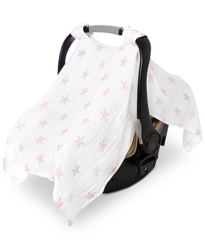 aden by aden + anais Cotton Doll Printed Car Seat Canopy, Baby Girls