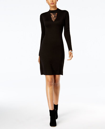 Connected Lace-Inset Sweater Dress