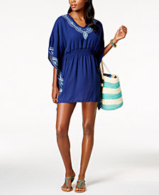 Dotti Fancy Stitch Embroidered Caftan Cover-Up