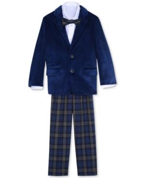 Nautica 4Pc Velvet Blazer Shirt Pants  Bowtie Set Toddler Boys (2T5T)