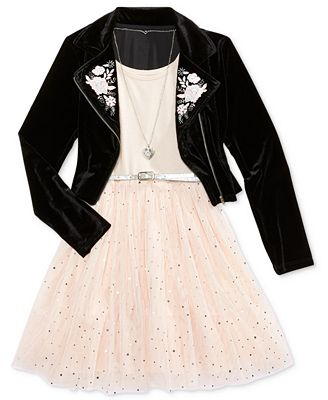 Beautees 2-Pc. Embroidered Moto Jacket, Necklace & Babydoll Dress Set, Big Girls