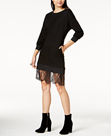 MINKPINK Lace-Hem Sweatshirt Dress