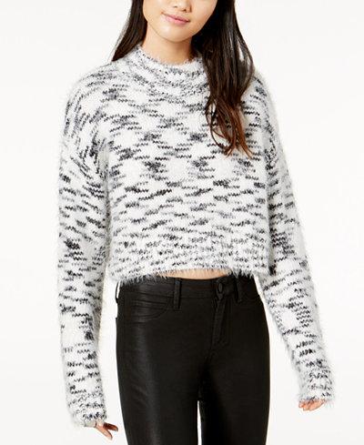 TWIIN Printed Cropped Sweater - Juniors Sweaters - Macy's
