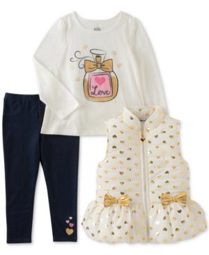 Kids Headquarters 3Pc Hearts Vest TShirt  Denim Leggings Set Little Girls (46X)
