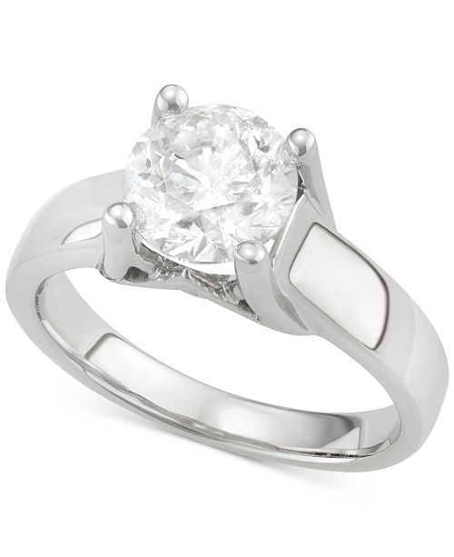 Macy's Diamond Solitaire Engagement Ring in 14k White Gold (2 ct. t.w.)