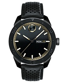 Men's Swiss BOLD Black Leather Strap Watch 44mm