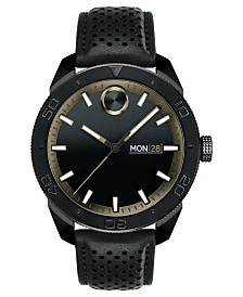 Movado Men's Swiss BOLD Black Leather Strap Watch 44mm