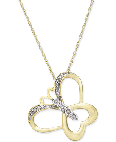 Diamond Accent Butterfly Pendant Necklace in 14k Gold