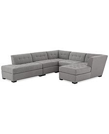 Roxanne II Performance Fabric 5-Pc. Modular Sofa with Bumper & Chaise, Created for Macy's