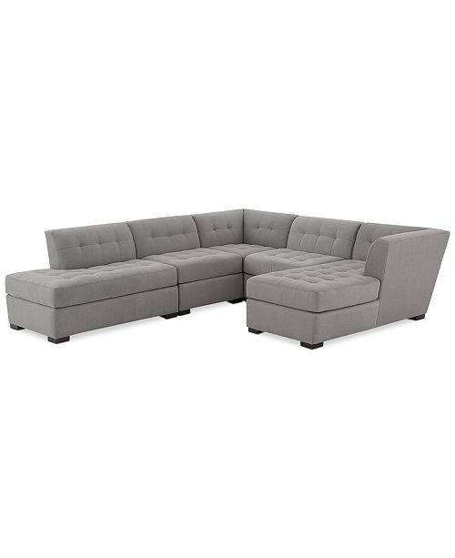 Furniture Roxanne II Performance Fabric 5-Pc. Modular Sofa with Bumper & Chaise, Created for Macy's