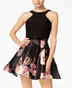 Crystal Doll Juniors' Belted Scuba & Floral-Print Fit & Flare Dress 5073428