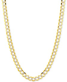 "20"" Two-Tone Open Curb Link Chain Necklace in Solid 14k Gold & White Gold"