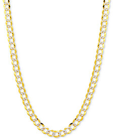 "30"" Two-Tone Open Curb Link Chain Necklace (3-5/8mm) in Solid 14k Gold & White Gold"