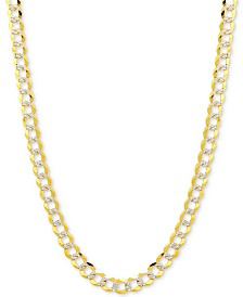 "24"" Two-Tone Open Curb Link Chain Necklace in Solid 14k Gold & White Gold"