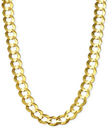"28"" Open Curb Link Chain Necklace (7mm) in Solid 14k Gold"