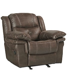 CLOSEOUT! Beldan Faux Leather Glider Recliner, Quick Ship