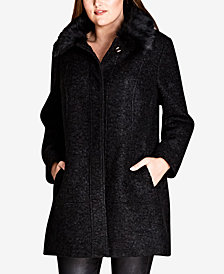 City Chic Trendy Plus Size Sweet Dreams Faux-Fur-Trim Coat