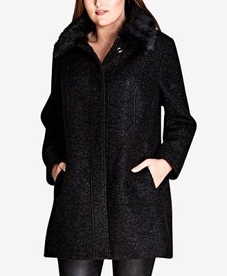 City Chic Trendy Plus Size Sweet Dreams Faux-Fur-Trim Coat