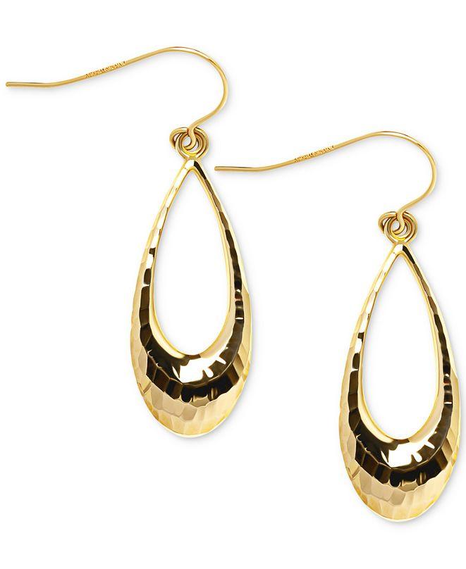 Macy's Open Teardrop Textured Drop Earrings in 10k Gold