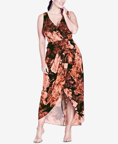 City Chic Trendy Plus Size Printed Wrap Maxi Dress