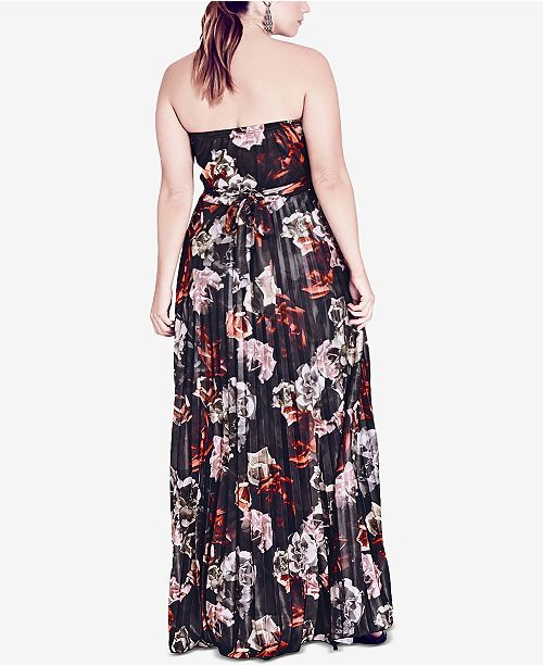 fb7b6d7c3c6 City Chic Trendy Plus Size Strapless Floral-Print Maxi Dress ...