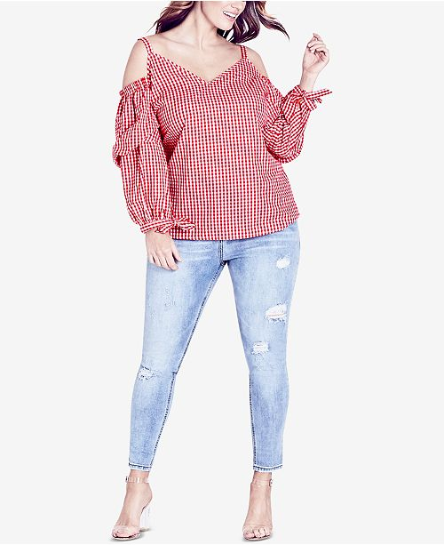 City Chic Trendy Plus Size Cotton Gingham Cold-Shoulder Top